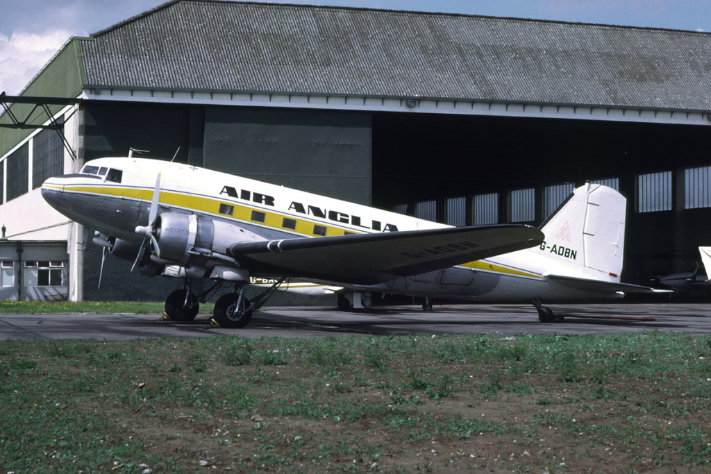 G AOBN Douglas C47 Dakota Norwich September 1974. Operated with Air Kruise and Silver City then with Morton Air Services and British United (Radio Calibration Unit) early 1960s Joined the newly formed Air Anglia in Nov 1971. Finally with Ethiopian Airlines and was written off in an accident at Jiggiga August 1977, Photo Richard Vanderv