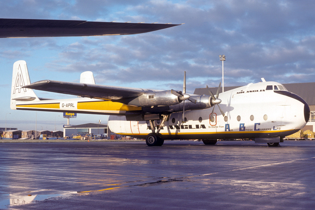 G APRL Armstrong Whitworth AW650 Argosy 101 Amsterdam December 1975. This aircraft was originally used by Riddle Airlines in Miami. With the retirement of its sole remaining Dakota in November 1975 Air Anglia leased two Argosy freighters. The aircraft is preserved at the Midland Aircraft Museum Coventry in Elan colours. Photo Peter de Groot.