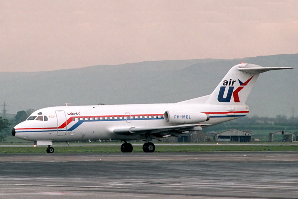 PH MOL F28 1000 Fellowship Glasgow May 1985. The first production F28 which did carry the full Air Anglia colour scheme. And during its lifetime flew for at least 15 other companies, it ended its days with Air Mali at Bamako Senou Mali. Photo Derek Ferguson.