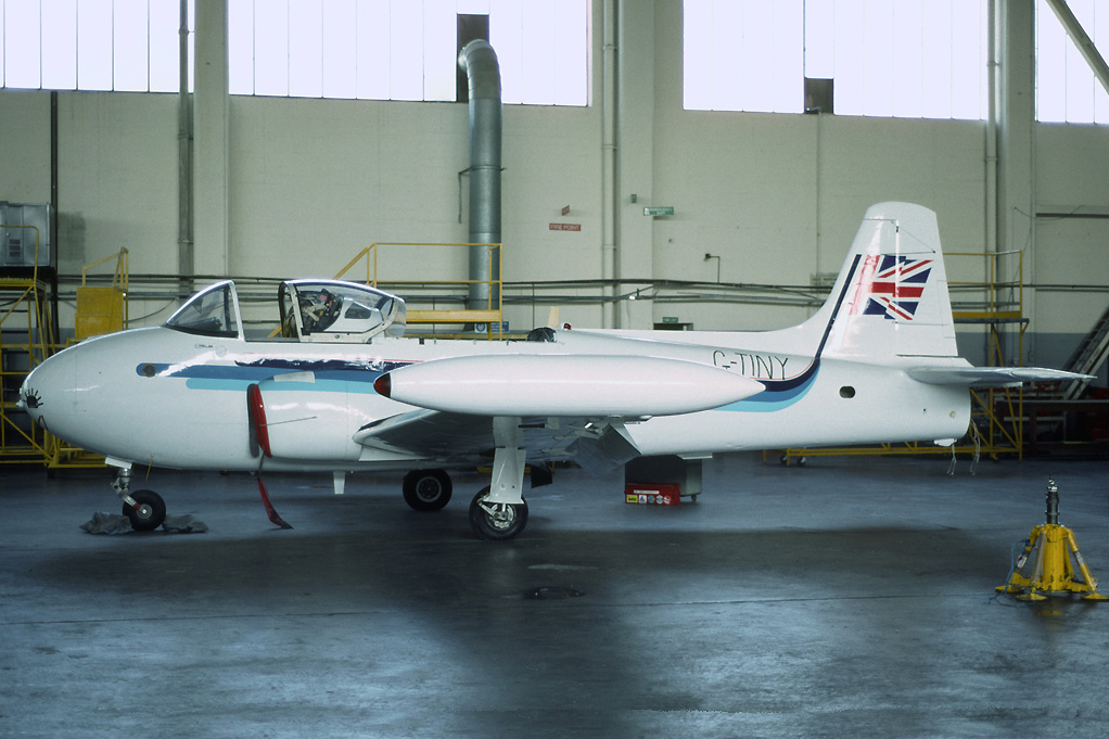 XM473/8974M Hunting Jet Provost T3, Norwich May 1993 Used by Air UK apprentice school at Norwich Airport, who added the blue and white colour scheme and applied the fictitious registration G TINY. Photo Richard Vandervord.