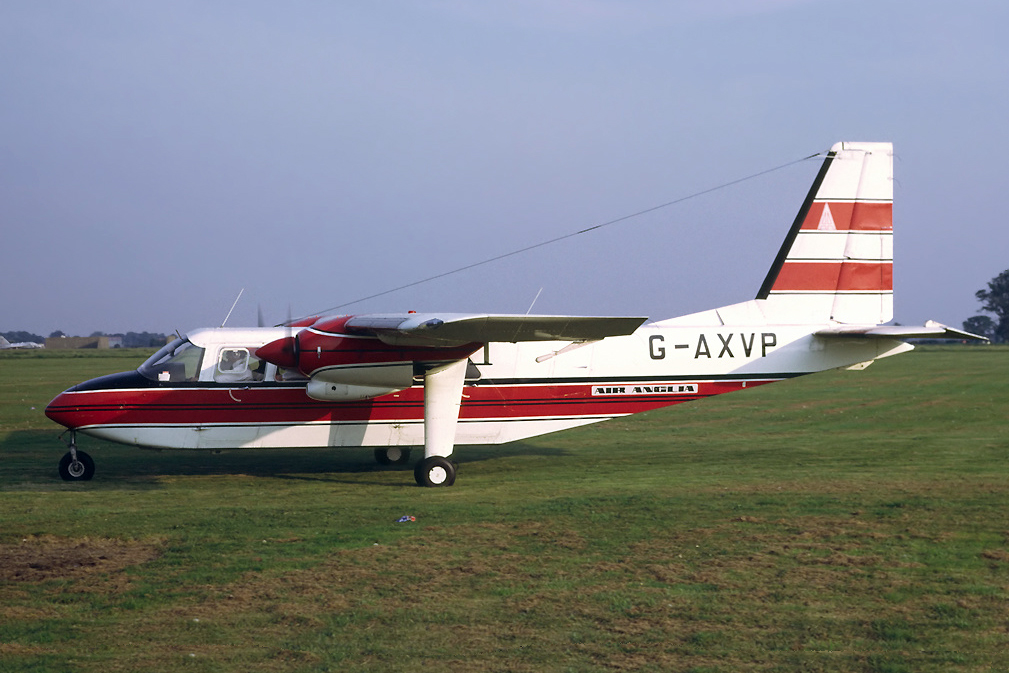 G AXVP Britten Norman BN2A Islander. Coltishall September 1971 Operated by Air Anglia until Mar 1973. Photo Richard Vandervord.