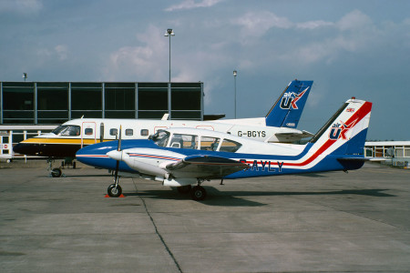 G AYLY Piper PA23 . Leeds March 1980