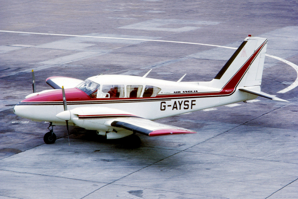 G AYSF Piper PA-E23-230 Aztec. Manchester November 1971 Operated by Air Anglia until March 1976. Jonathan Walton.
