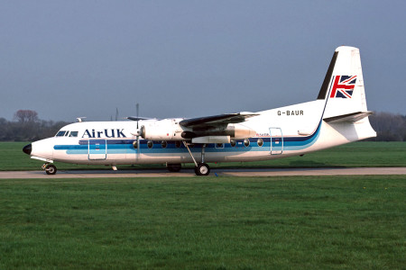 G BAUR Fokker F27 – 200. Named Robert Louis Stevenson. Southampton May 1991