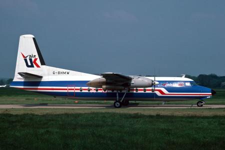 G BHMW Fokker F27-200 named Friendship Amy Johnson. Southampton June 1987
