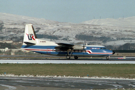 G BHMX Fokker F27-200. Glasgow January 1985