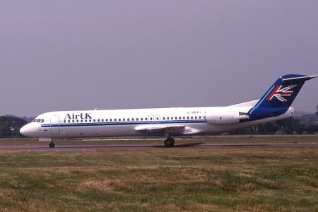 G UKFJ Fokker F28 0100. Glasgow July 1996