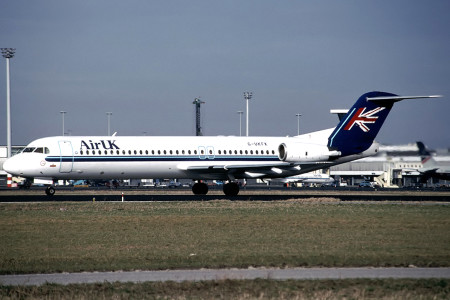 G UKFK Fokker F28 0100. Amsterdam late 1990s