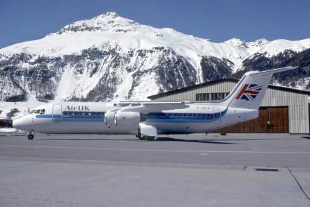 G UKID BAe 146 – 300.  Samedan (St Moritz) 1990