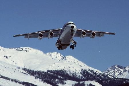 G UKID BAe 146-300. Samedan (St Moritz) March 1990