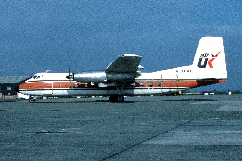 G APWE Handley Page HPR.7 Herald 201. Unknown Location 1980 Shown in this BIA Air UK hybrid colour scheme, later to carry the Air UK first modified colour scheme. Origin of this image unknown, please contact us if you recognise it.Photo Barry Friend Collection.
