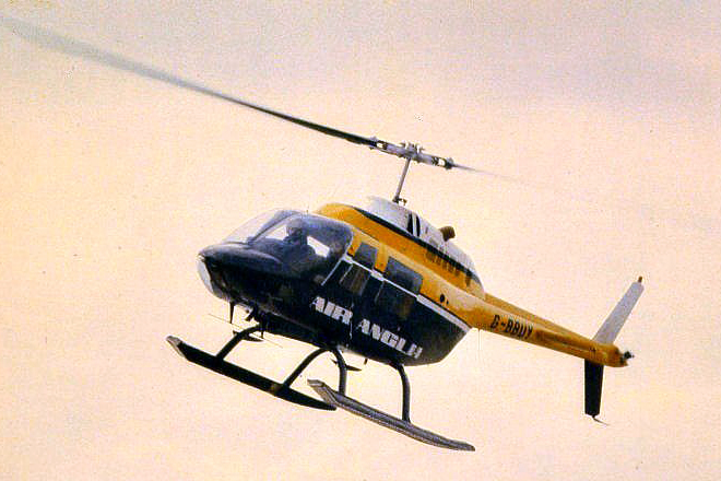 G BBUY Bell 206B Jet Ranger 11. Unknown Location With Air Anglia from October 1979 to February 1980. Photo Barry Friend Collection.