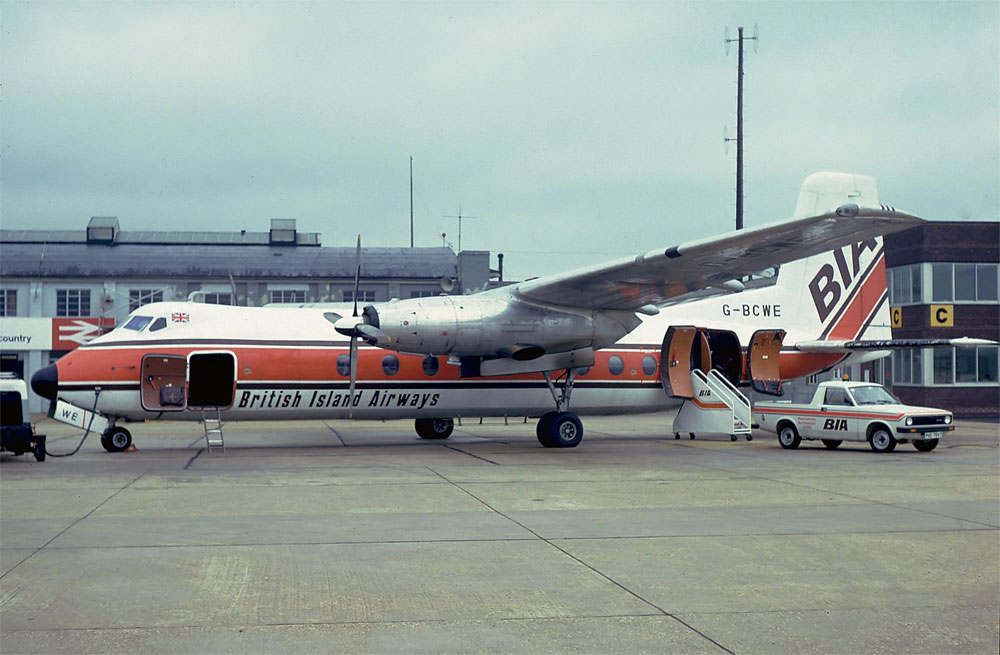 G BCWE Handley Page HPR7 Herald 206. Southampton 1979 First flew 27 January 1963 and delivered February 1963 to Eastern Provincial Airways. Canada. Returned to UK and BAF January 1975. Leased to Air Anglia 01 April 1976 to 02 May 1976. Leased from 01 January 1979 to 01 January 1982 by British Island Airways, during the lease BIA became Air UK and the lease continued. It was re-registered as TG ASA to Aerovias SA of Tegucigalpa, Guatemala and delivered April 1988. Withdrawn in October 1991. Photo Barry Friend Collection.