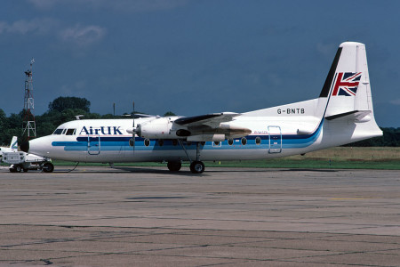 G BNTB Fokker F27 - 600 named Friendship Agatha Christie. Southampton July 1990