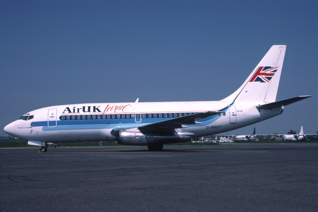 G BNZT Boeing 737 - 2E3ADV. Southend July 1988 Air UK Leisure was established in 1987 as the charter subsidiary for Air UK, in association with Viking International a charter brokerage company. They operated two 737 200 series initially first registered in March 1988. Photo Richard Vandervord.