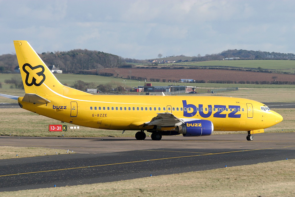 G BZZE Boeing 737 – 3Q8. Prestwick February 2004 Buzz operated a total of ten Boeing 737 – 300 aircraft. The aircraft pictured here is operating a Stansted Prestwick flight, getting away from the original Buzz intention of operating to the main line airports. Photo Alastair T. Gardiner.
