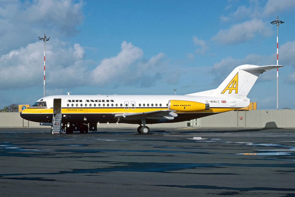 G WWJC Fokker F28 – 4000. Newcastle November 1979 First registered to Air Anglia in October 1979 shown in the full Air Anglia colours. Photo Richard Hunt Collection.