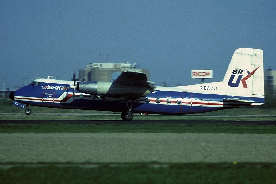 G BAZJ Handley Page HPR7 Herald 209. Amsterdam May 1987 The only one of the original three blue tailed Heralds to have flown with the modified white tail colour scheme. Photo Dietrich Eggert.
