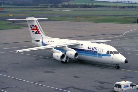 G CSJH BAe 146 200. Edinburgh February 1988
