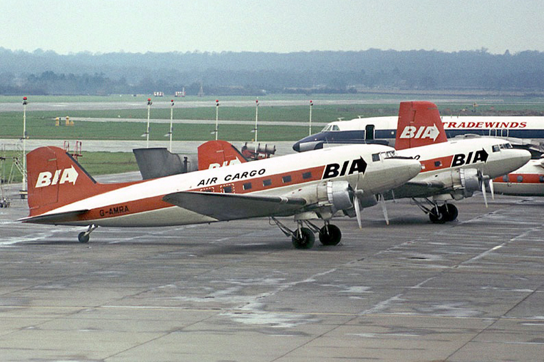 Served with BIA until March 1974. We mentioned some aircrew names in the picture of G AMSV, other Dakota aircrew names which come to mind are Ian Whitten, Dave Laker, Ken Warburton, Bryan Nealy and Richard Arwas. Photo Barry Friend Collection.