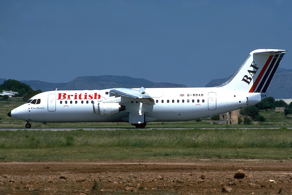 This aircraft was chartered by Air UK from British Aerospace from 30 Apr to 26 Aug 1992. It operated in an all-white colour scheme with no titles. It operated amongst other flights STN/JER/STN in June 1992 and the UK837/842 Amsterdam to Teeside rotation on the 24 August 1992. Its next operator was BAF whose colours it is pictured in. Photo Toni Marimon.