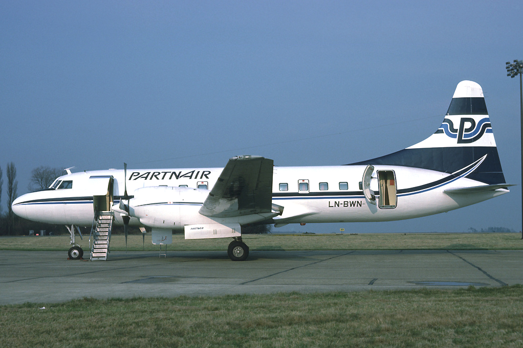 AirUK chartered Partnair and used its Convair 580s to operate between GLA and AMS in 1987, LN BWG was also used. Photo Richard Vandervord.