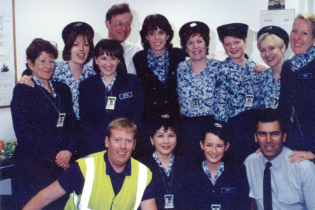 Air UK Staff at Southampton pictured inside the new terminal building