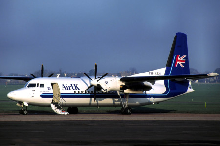 PH KXH Fokker 50 named City of Bradford. Southend 1994