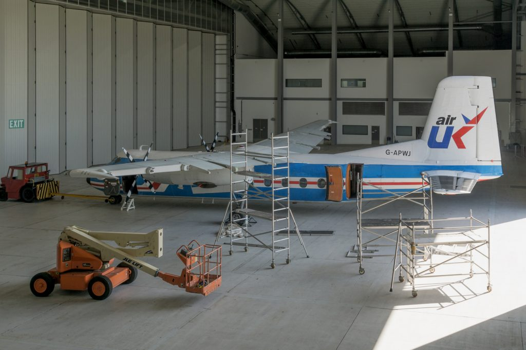 Following its repaint at Duxford the Society gained hangar time in April 2018 for the fitting of flaps, ailerons and nacelle fairings. It could have been an image taken in 1985 with WJ awaiting its next service. Picture credit Brian A Marshall.